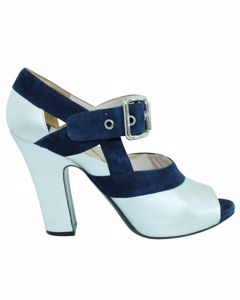 Silver And Navy Blue Peep Toes Pumps