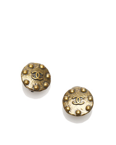 Chanel Cc Clip-on Earrings Brown
