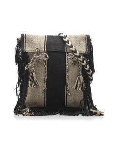 Ysl Anita Canvas Shoulder Bag Black