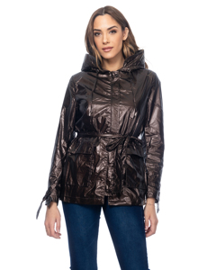 Metallic Jacket With Hood, Belt And Visible Pockets