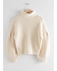 Balloon Sleeve Knit Sweater Creme