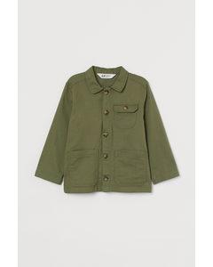 Hemdjacke aus Twill Khakigrün