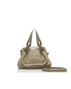 Chloe Small Paraty Leather Satchel Gray
