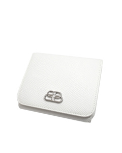 Balenciaga Compact Leather Wallet White