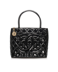 Chanel Medallion Patent Leather Tote Bag Black