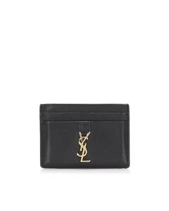Ysl Monogram Leather Card Holder Black