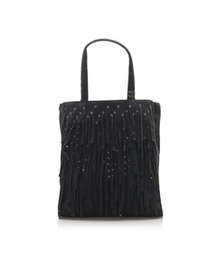Chanel Fringe Suede Handbag Black