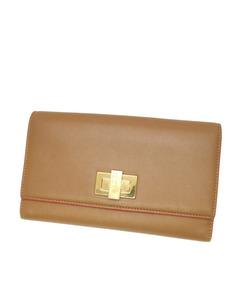 Fendi Peekaboo Leather Wallet Brown