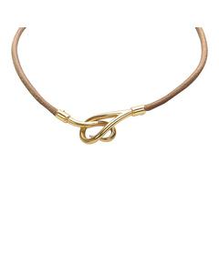 Hermes Jumbo Hook Leather Bracelet Brown