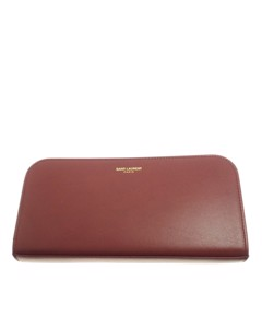 Ysl Zip Around Leather Wallet Red