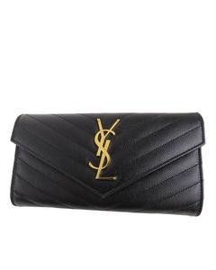 Ysl Monogram Leather Wallet Black