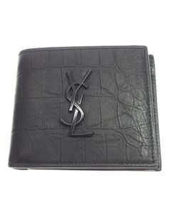 Ysl Monogram Embossed Leather Wallet Black