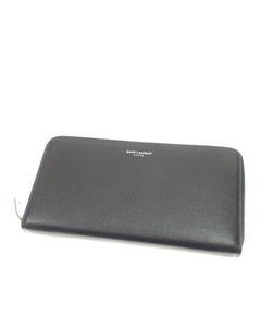 Ysl Zip Around Leather Wallet Black