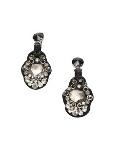 Prada Crystal Drop Earrings Black
