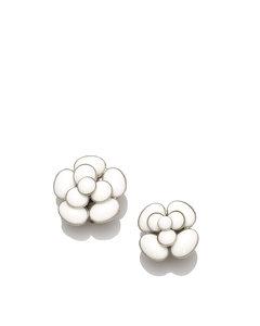 Chanel Camellia Earrings Silver