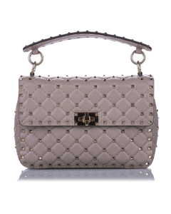 Valentino Medium Rockstud Spike Leather Satchel Pink
