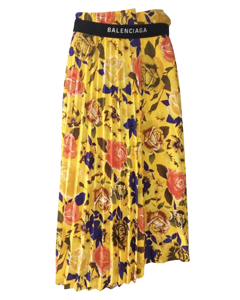 Yellow Floral Pleated Midi Skirt