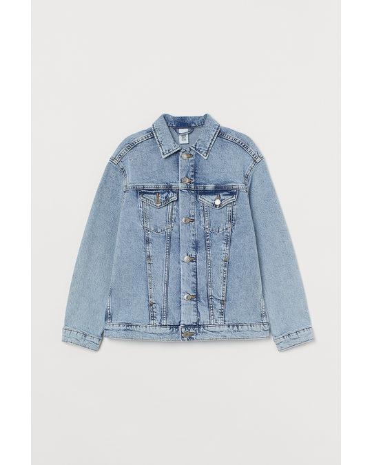 H&M Oversized Denim Jacket Light Denim Blue