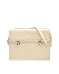Ysl Leather Satchel White