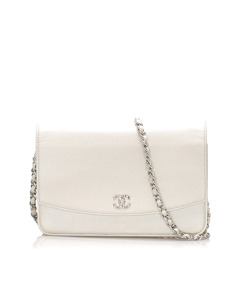 Chanel Caviar Leather Wallet On Chain Silver