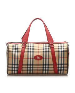 Burberry House Check Canvas Duffle Bag Brown