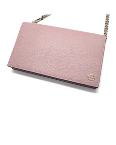 Gucci Betty Leather Wallet On Chain Pink