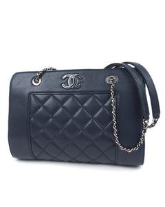 Chanel Cc Matelasse Leather Chain Shoulder Bag Blue