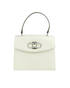 Ferragamo Gancini Leather Satchel White