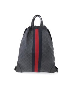 Gucci Gg Supreme Web Drawstring Backpack Black