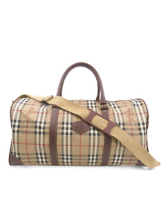 Burberry Haymarket Check Travel Bag Brown