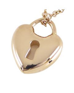 Tiffany 18k Heart Lock Pendant Necklace Pink