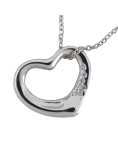 Tiffany Elsa Peretti Open Heart Pendant Necklace Silver