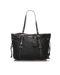 Prada Canapa Logo Tessuto Tote Bag Black