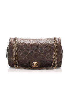 Chanel Cc Timeless Caviar Shoulder Bag Brown