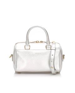 Ysl Baby Classic Metallic Leather Duffle Bag Silver