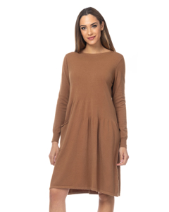 Flared Knit Dress With Pockets