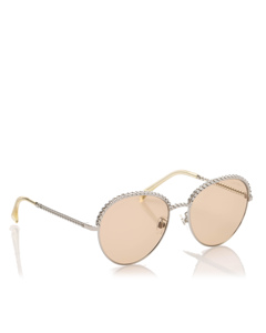 Chanel Round Tinted Sunglasses Silver