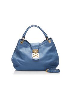 Miu Miu Leather Satchel Blue