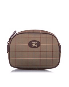 Burberry Plaid Canvas Pouch Brown