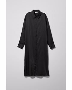 Parisa Satin Shirt Dress Black