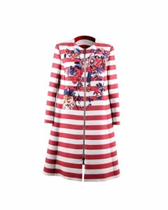 Antonio Marras Striped Grosgrain Embroidered Coat Zip Front Size 38 It