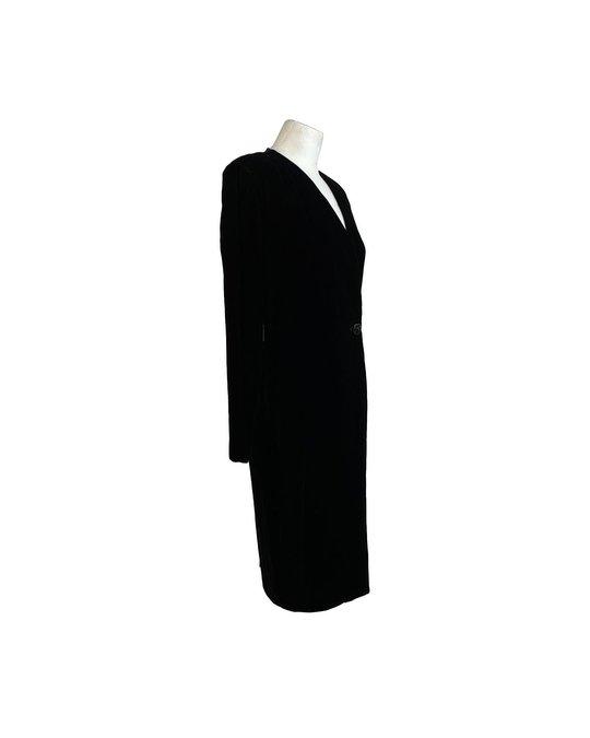 Other Alma Vintage Black Velvet Long Sleeve Wrap Dress Size 44