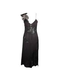 Black Sheer Chiffon Bustier Lace Midi Dress Asymmetric Neckline