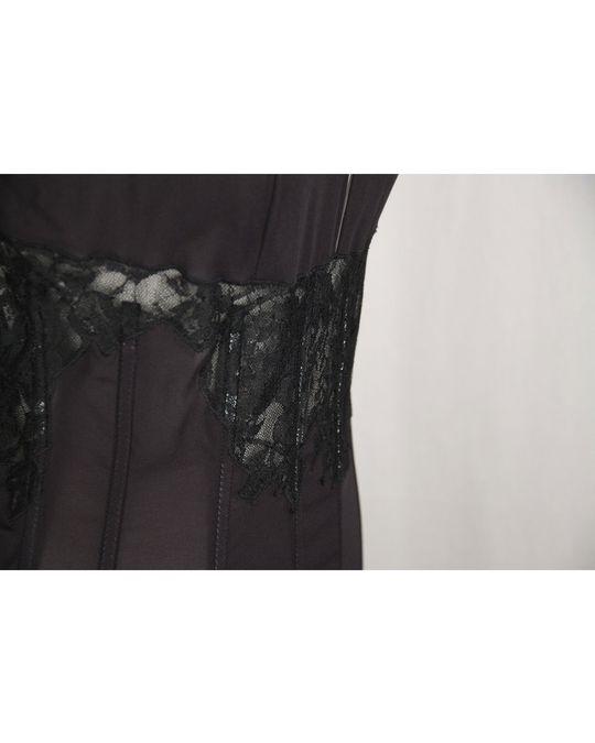 Other Black Sheer Chiffon Bustier Lace Midi Dress Asymmetric Neckline