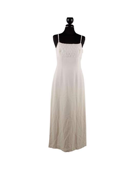 Other Mani Vintage Ivory Evening Maxi Dress With Beads Size 40 Small