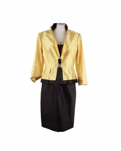 Clips Yellow And Black Silk Sleeveless Dress And Jacket Set Size 44