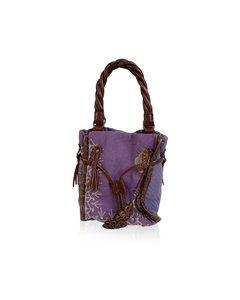 Maliparmi Violet Canvas Brown Leather Embroidered Small Handbag