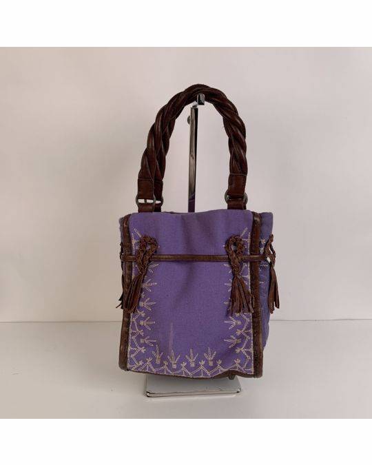Other Maliparmi Violet Canvas Brown Leather Embroidered Small Handbag