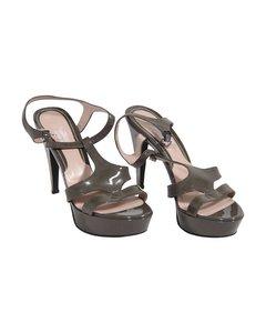 René Caovilla Brunt Tyg Klackar Sandaler Modell: Heeled Sandals