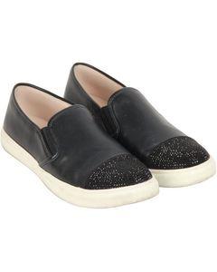 Steve Madden Black Leather Embellished Emuse-r Trainer Size 8